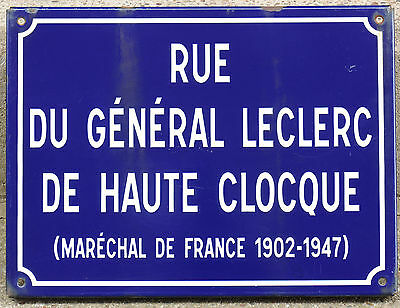 Old French enamel steel street sign road plaque name General Leclerc Nantes
