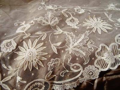 A Pretty Antique Brusssels Princess Lace Tulle Lace Panel