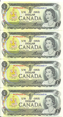 Bank of Canada 1973 $1 One Dollar Lot of 4 Consecutive Notes BCM Prefix UNC