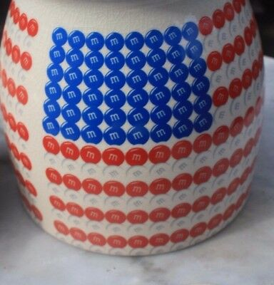 RARE M&M Candy Cookie Jar, U.S. Flag Design, M&M World, Canister with lid NOS