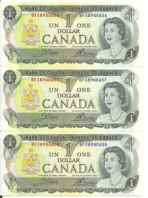 Bank of Canada 1973 $1 One Dollar Lot of 3 Consecutive Notes BFG Prefix UNC
