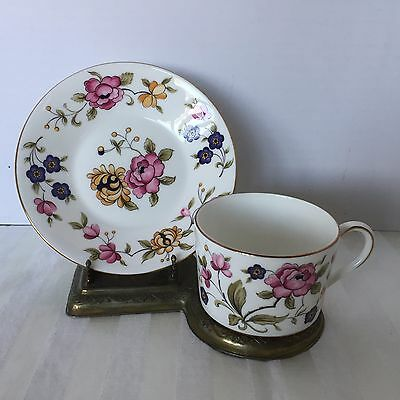 Coalport San Remo Cup and Saucer Flowers Bone China Made in England Vintage