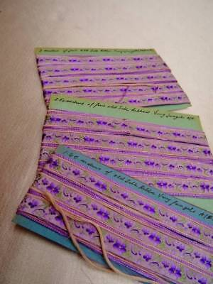 Three Cards Of Antique 19th Century French Lyon Silk Ribbon ~ Violets ~