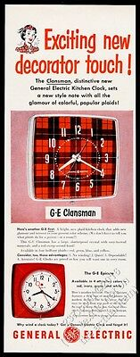 1951 General Electric Clansman Scotch plaid clock & Epicure pix vintage print ad