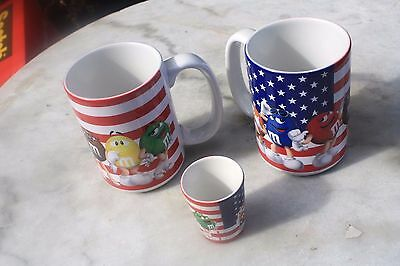 M&M Candy U.S.Flag design NOS 2 Mugs & 1 Shot Glass all with tags HTF M&M World