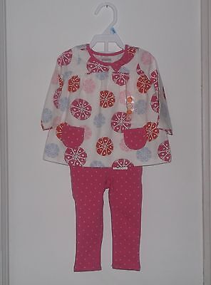 NWT Gymboree Baby Girl 2 Piece Cotton Tunic Dress & Pants Set Size 6 - 12 Months