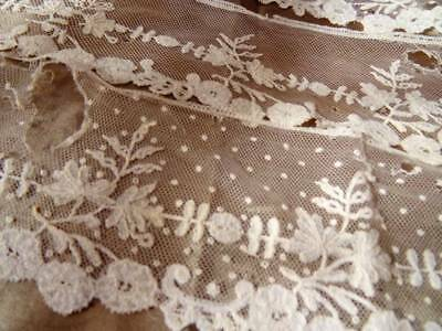 Three Beautiful Antique Brussels Applique Lengths On tulle c.1880 A/F