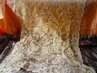 A Stunning Antique French Cornely Lace Curtain Panel C.1900