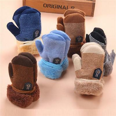 New Baby Boy Toddler Soft Cartoon Mittens Warm Gloves With String C