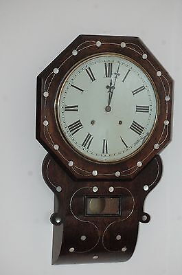 Antique Victorian Inlaid Drop Box Wall Clock With Key.