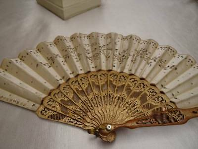 A Stunning Early 19th Century Gold sequin On Silk Gold Stick Fan C.1820