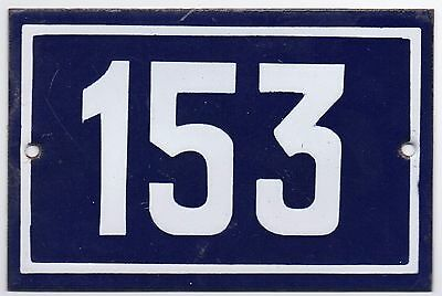 Old blue French house number 153 door gate plate plaque enamel metal sign steel