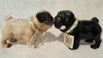 MWAH! PUGS by WESTLAND PUG SALT AND PEPPER SHAKERS (PUG) FAWN & BLACK