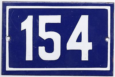 Old blue French house number 154 door gate plate plaque enamel steel metal sign