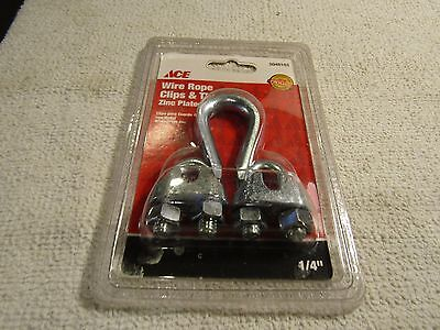 """Ace 1/4"""" Wire Rope Clips & Thimble Zinc Plated  5048103 New Stock"""
