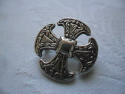 Antique/Vintage Celtic/Maltese Cross Silver Brooch