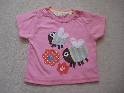 Baby Boden tshirt top 0-3 months applique bumble bee pink