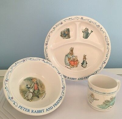 Vintage F. Warne & Co. Melamine EDEN Peter Rabbit and Friends Plate & Cup Set