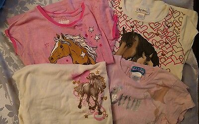 Lot of 4 girls horse motif tops, size M