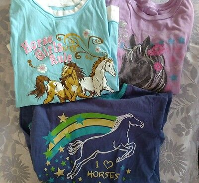 Lot of 3 girls horse themed shirts, size L