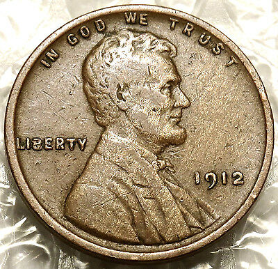 1912 Lincoln Wheat Cent. Very Fine Coin. Bold Date. Early Year. #182