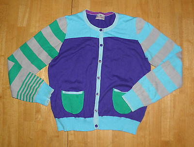 Hanna Andersson Purple & Green Striped Cardigan Sweater Girls 160 Fall Cotton