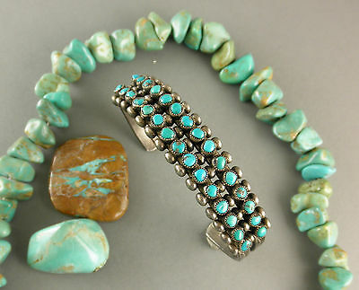 Old  Harvey Era Two row Natural Turquoise Stamped Zuni Sterling Cuff Bracelet
