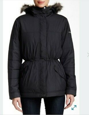 columbia jacket faux fur trim hooded coat black S small puffy puffer