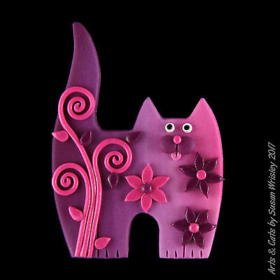 Standing Pink Plum Kitty Cat with Flowers, Leaves & Swirls Pin - SWris