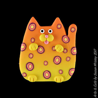 Medium Orange Yellow Leopard Spotted Kitty Cat Pin - SWris