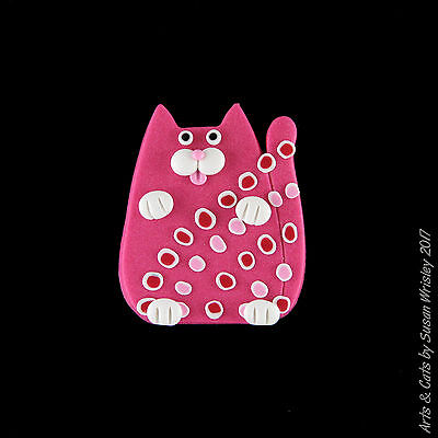 Small Rose Pink Tabby Kitty Cat & Jazzy Spots Pin - SWris