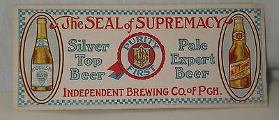 Vintage Silver Top Beer Advertising Ink Blotter  Free Shipping! No Reserve