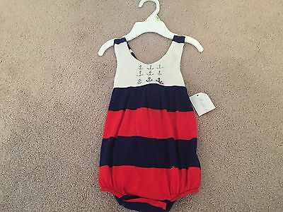 NWT Girl's Ralph Lauren One Piece Outfit Size 3 Months Red White & Blue Cute!!
