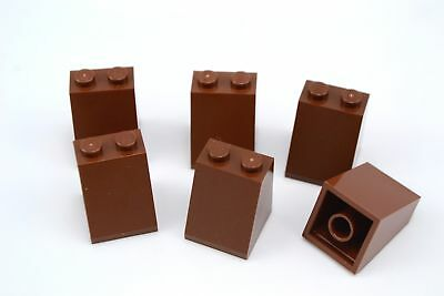 Lego 2x2x2 Slope 65 Degree With Bottom Tube Reddish Brown Lot of 6 New