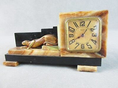 c1920s French ART DECO Shelf CLOCK Marble w/Bronze PANTHER