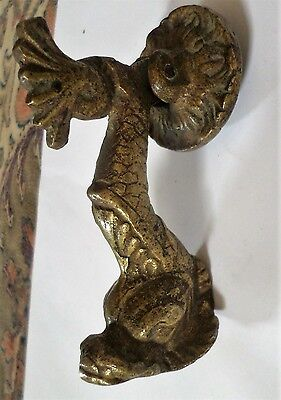 Antique Solid Brass Victorian 19th Century Door Knocker Serpent Fish Rare