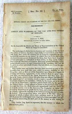 1835 SAC and FOX Indian Tribes Chiefs & Warriors Memorial for Annuity Payments