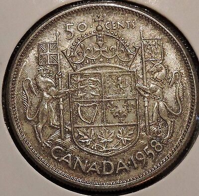Canada Half Dollar - 1958 - Elizabeth II - $1 Unlimited Shipping