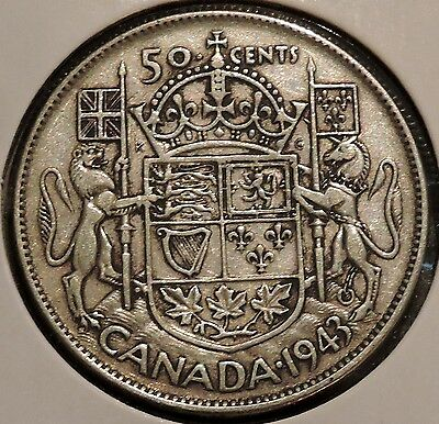 Canada Half Dollar - 1943 - King George VI - $1 Unlimited Shipping