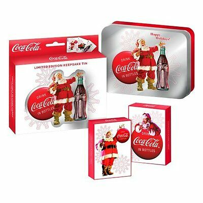 NEW Coca Cola playing cards Limited Edition Keepsake Tin with 2 Decks holiday
