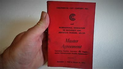 Vintage Rare 1969 Aerospace Workers Master Agreement Continental Can Booklet