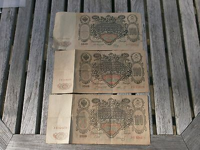 3 Russian Empire 100 Ruble 1910 Banknotes