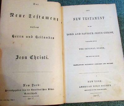Antique 1907 German and English New Testament American Bible Society