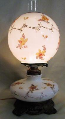 Antique GWTW Oil Lamp Electrified Gold Gilt Trim Embossed Opal White Glass