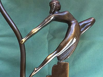 Unusual 1920s Bronze DECO Figural HOOD ORNAMENT FIGURE Desk LAMP Lavender Shade