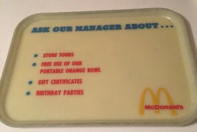 Vintage Mcdonald's Tray Ask The Manager About Different Store Services