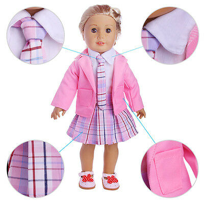 Pink 4pcs set school clothes set for 18inch American girl doll hot n1108
