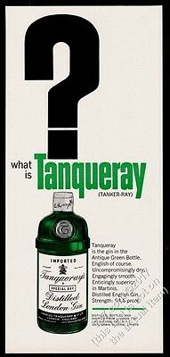 1963 Tanqueray Gin classic green bottle pic What Is Tanqueray vintage print ad