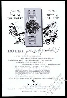 1954 Rolex Submariner watch scuba diver Mt Everest art FIRST Submariner print ad