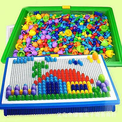 296Pcs Child Kids 3D Puzzle Game DIY Nail Beads 7 Color Creative Flashboard Toy